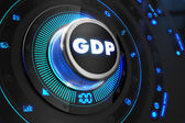 GDP Button with Glowing Blue Lights. — Stock Photo