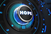 Hope Button with Glowing Blue Lights. — Foto de Stock