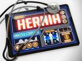 Hernia on the Display of Medical Tablet. — Stock Photo