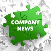 Company News on Green Puzzle. — Stock Photo