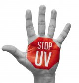 Stop UV on Open Hand. — Stock Photo
