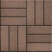 Brown Paving Slabs of Rectangles Laid Out on Three Pieces Perpendicular to Each Other. — Stock Photo