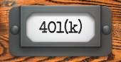 Inscription 401K on Label Holder. — Stock Photo