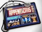 Blindedarmontsteking op het Display van medische Tablet. — Stockfoto