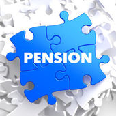 Pension on Blue Puzzle. — Stock Photo