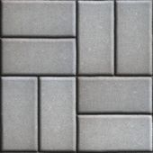 Gray Paving Slabs of Rectangles Laid Out on Two Pieces Perpendicular to Each Other. — Stock Photo