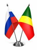 Russia and Republic Congo - Miniature Flags. — Stock Photo