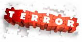 Terror - White Word on Red Puzzles. — Stock Photo