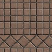 Brown Pave Slabs in the Form of Small Squares and Triangles. — Stock Photo
