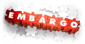 Embargo - Word on Red Puzzles. — Stock Photo