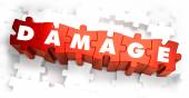 Damage - Text on Red Puzzles. — Stock Photo