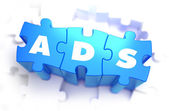 Ads - White Word on Blue Puzzles. — Stock Photo
