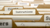 Instructions Concept with Word on Folder. — Stock Photo