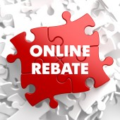 Online Rebate on Red Puzzle. — Stock Photo