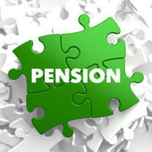 Pension on Green Puzzle. — Stock Photo