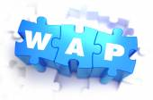 Wap - White Word on Blue Puzzles. — Stock Photo