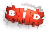 Bid - White Word on Red Puzzles. — Stock Photo
