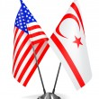 USA and Turkish Republic Northern Cyprus - Miniature Flags. — Stock Photo #70486311