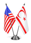 USA and Turkish Republic Northern Cyprus - Miniature Flags. — Stock Photo