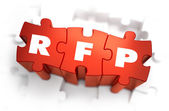 RFP - White Word on Red Puzzles. — Stock Photo