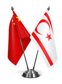 China and Turkish Republic Northern Cyprus - Miniature Flags. — Stock Photo