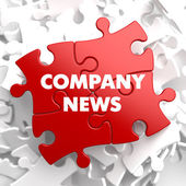 Company News on Red Puzzle. — Stock Photo