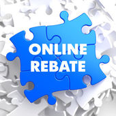 Online Rebate on Blue Puzzles. — Stock Photo