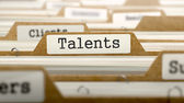 Talents Concept with Word on Folder. — Stock Photo