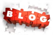 Blog - White Word on Red Puzzles. — Stock Photo
