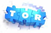 TOR - White Word on Blue Puzzles. — Stock Photo