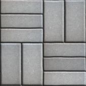 Gray Pave Slabs Rectangles Arranged Perpendicular to Each other Two or Three Pieces. — Stock Photo