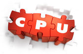 CPU - White Word on Red Puzzles. — Stock Photo