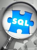 SQL - Missing Puzzle Piece through Magnifier. — Stock Photo