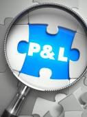 Profit and Loss - Missing Puzzle Piece through Magnifier. — Stock Photo