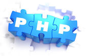 PHP - Text on Blue Puzzles. — Fotografia Stock