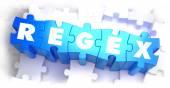 Regex - texto em azuis quebra-cabeças. — Fotografia Stock
