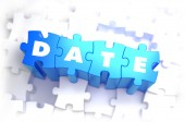 Date - White Word on Blue Puzzles. — Stock Photo