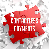 Contactless Payments on Red Puzzle. — Stock Photo