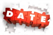 Date - White Word on Red Puzzles. — Stock Photo