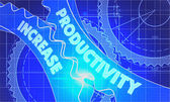 Productivity Increase on the Cogwheels. Blueprint Style. — Stock Photo