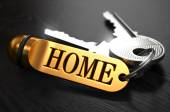 Keys with Word Home on Golden Label. — Stock Photo
