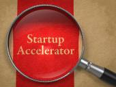 Startup Accelerator through Magnifying Glass. — Stock Photo