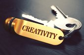 Keys with Word Creativity on Golden Label. — Stock Photo