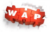 WAP - White Word on Red Puzzles. — Stock Photo