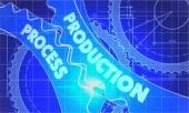 Productie proces Concept. Blauwdruk van Gears. — Stockfoto
