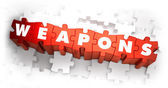 Weapons - White Word on Red Puzzles. — Stock Photo