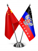 China and DNR - Miniature Flags. — Stockfoto