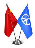 China and Peace Sign - Miniature Flags. — Stock Photo