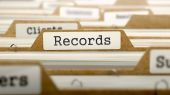 Records Concept with Word on Folder. — Stock Photo