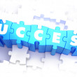 Success - White Word on Blue Puzzles. — Stock Photo #74327275